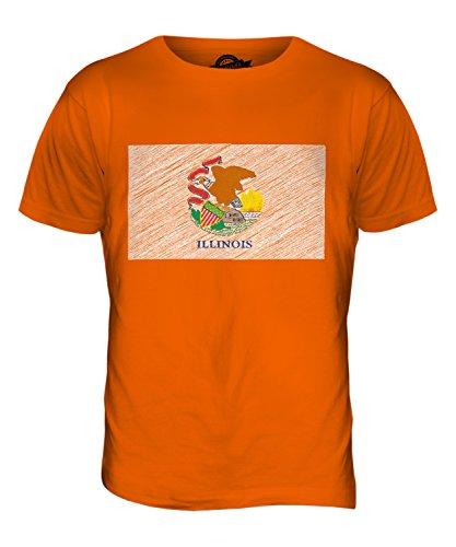 CandyMix Illinois State Bandiera Scarabocchio T-Shirt da Uomo Maglietta Arancione