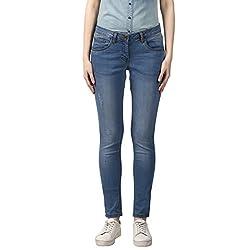 Park Avenue Woman Dark Blue Skinny Fit Cotton Blend Jeans