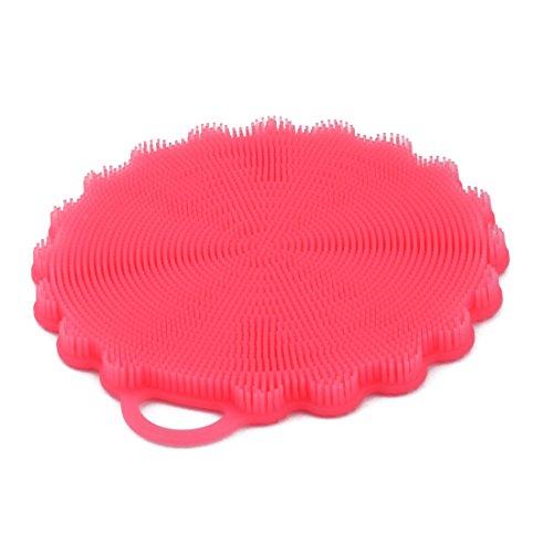 sourcing map topfreiniger Haushalt Küche Silikon Blumen Form Schwamm Wasch Reinigung Bürste Pad Rot -