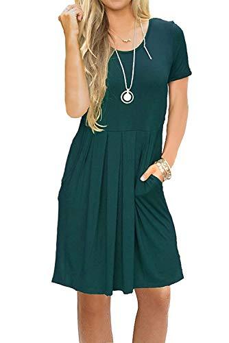 Bequemer Laden Damen Kleid Kurzarm Sommer Casual Lose Swing Minikleid T-Shirt Kleid Mit Taschen Grün S -
