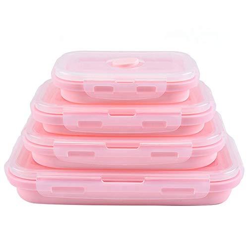 SODIAL Rosa Lebensmittel Qualit?t Silikon Brot Dose Falten Umwelt Freundliche Lebensmittel Beh?lter Bento Box Faltbare Tragbare Mikrowelle Crisper Box -