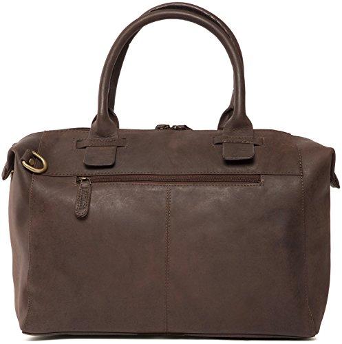 LEABAGS Baltimore sac à main rétro-vintage en véritable cuir de buffle - Noix de muscade Noix de muscade
