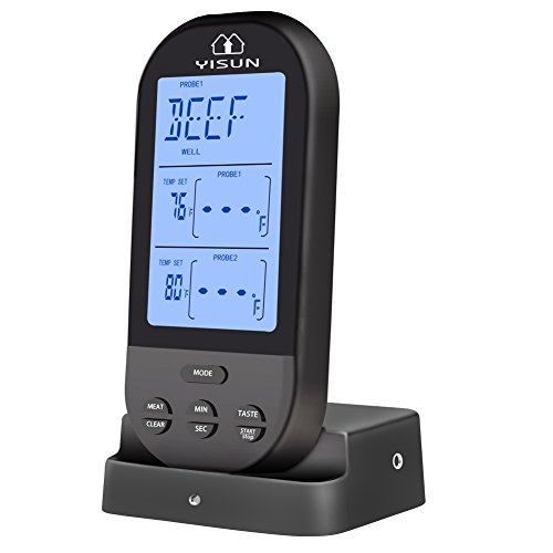 YISUN Wireless Meat Thermometer Remote Digital 2 Probe,BBQ Oven Smoker Grill Kitchen Cooking Food Thermometer (Black)