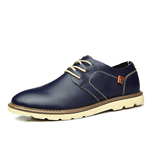 Herren Rindleder Halbschuh Freizeitsschuhe Sportschuhe Sneaker Oxford Schnürhalbschuhe Blau