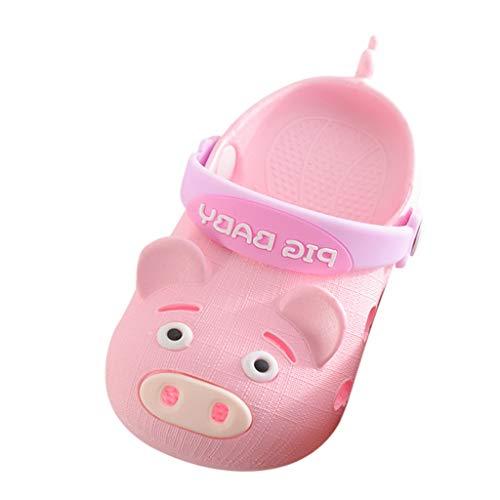 Oyedens Babyschuhe Sommer, Kinder Cartoon Schwein Strand Sandalen Baby Jungen Mädchen rutschfeste Hausschuhe Schuhe Baotou Löcher Schuhe Lauflernschuhe Pig Baby (EU:25 / Length:15CM, Rosa)