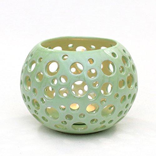 Candelabro Orion, H/Ø ca 10,5x 14cm, cerámica, verde menta