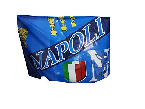 Générique 1 Drapeau Football Supporter Bleu Clair 100 x 150 cm Environ, Puis Carte Supporter Naples sur Carton ricevi également Un Porte-Clés Corne Rouge portaforuna Naples