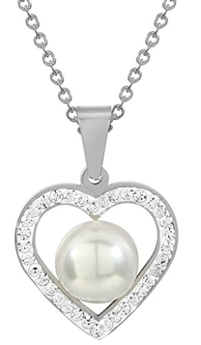 det Schmuck-Sets für Damen, Necklace & Ohrringe Liebe Her Weiß Pearl CZ Silber (Karneval-perlen Großhandel)
