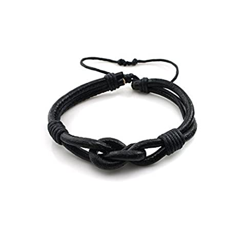 Most Beloved Handmade Countryside Style Genuine Real Leather Braid Infinity Lock Bracelet by Most Beloved