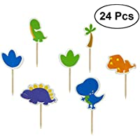 STOBOK Torta Que adorna la Tarjeta del Inserto Dinosaurio Creativo de Dibujos Animados Toppers Recoger niño