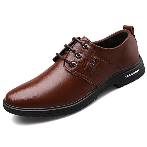 ZHANSANFM Herren Business Schuhe klassischer Rutschfeste Lederschuhe Atmungsaktive Einzelnen Schuhen Regular Fit Elegant Anzugschuhe Halbschuhe Gr.38-45(44 Braun)