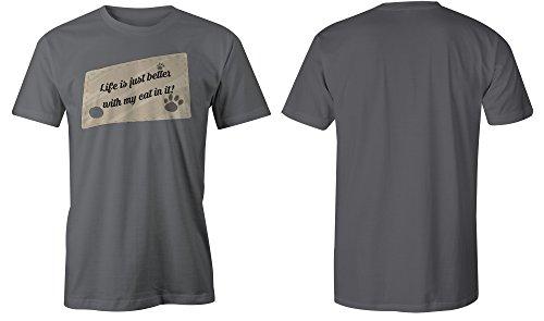 Life Is Just Better With My Cat In It ★ Rundhals-T-Shirt Männer-Herren ★ hochwertig bedruckt mit lustigem Spruch ★ Die perfekte Geschenk-Idee (06) dunkelgrau