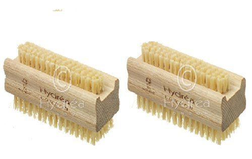 Hydrea Extra Tough Wooden Nail Brush With Firm Cactus Bristles Twin Pack
