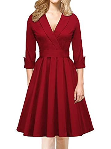 iLover Damen Abendkleid 3/4 Ärmel V Neck bowknot Cocktailkleid Rockabilly 50er Jahre Party Brismaid Swing Kleid WineRed (Pin Up-kostüm-mädchen)