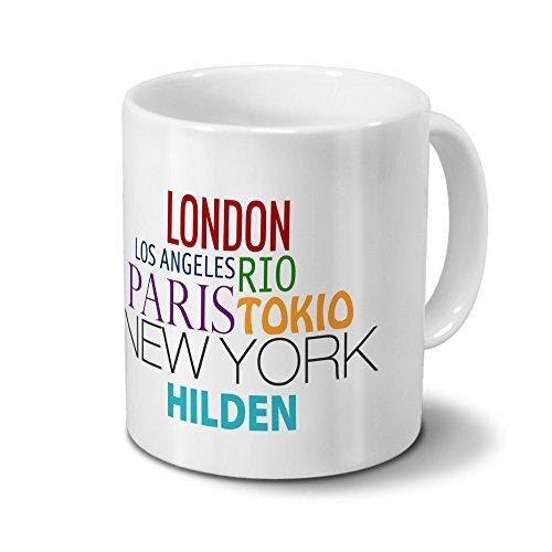 "Städtetasse Hilden - Design \""Famous Cities in the World\""-Design"