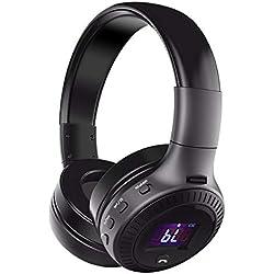 Casque Bluetooth ELEGIANT Oreillette Multifonction Stéréo sans fil Rechargeable Écouteur Headphones Affichage Numérique Mic/Radio FM/TF carte SD/3.5mm Audio AUX pour appareils Bluetooth (noir)