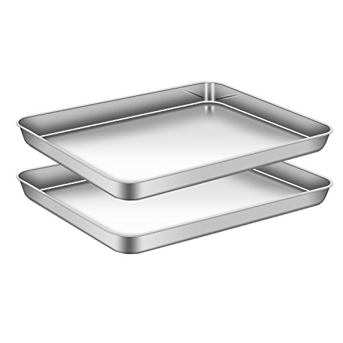 AEMIAO Set di 2 Teglie da Forno In Acciaio Inossidabile, Teglia Rettangolare Bassa per Pane Pizza Torte - Rivestimento Antiaderente/Lavabile in Lavastoviglie/Super Mirror Finish, 40 X 30 X 2.5 cm
