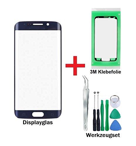 iTG® PREMIUM Displayglas Reparatur-Set für Samsung Galaxy S6 EDGE Schwarz (Black Sapphire) - Oleophobic Front Display Glas für Modell SM-G925F + Vorgeschnittene 3M Klebefolie und 8-Stück Werkzeug-Set