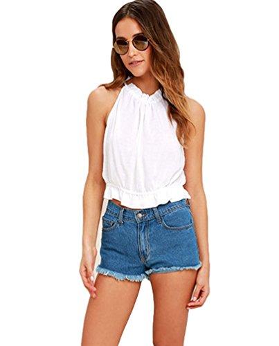 Niseng Damen Lässige Ohne Arm Einfarbig Slim Fit Rückenfrei Basic kurze T Shirts Blusen Strappy Tank Top Weiß
