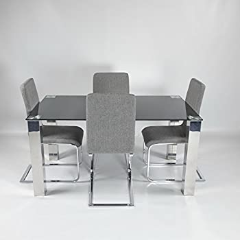 45e90c6ae69e Charles Jacobs Lounge Kitchen Dining Table Set 4 Grey Fabric Chairs Chrome  Legs, Black Tempered Glass Top Chrome Legs, 4 Seats