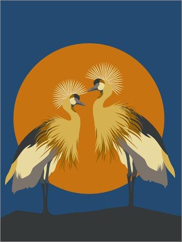 Posterlounge Stampa su Vetro Acrilico 60 x 80 cm: Cranes at Sunset di Editors Choice