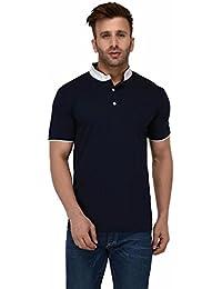 c51b573d25c86c The Dry State Men s Cotton Navy Mandarin Collar Henley Stylish Half Sleeves  Polo Tshirt B189-