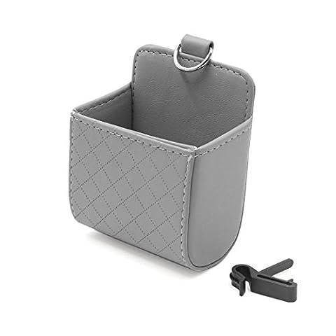 sourcingmap® Voiture grise aération situé poche téléphone Boîte rangement Sac Pochette porte-débris
