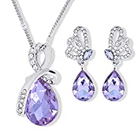 Swarovski Elements Unique Butterfly Jewelry Set For Women - 18K White Gold Plated Crystal Necklace & Earrings Set - Birthday Valentine's Gift (Lavender)