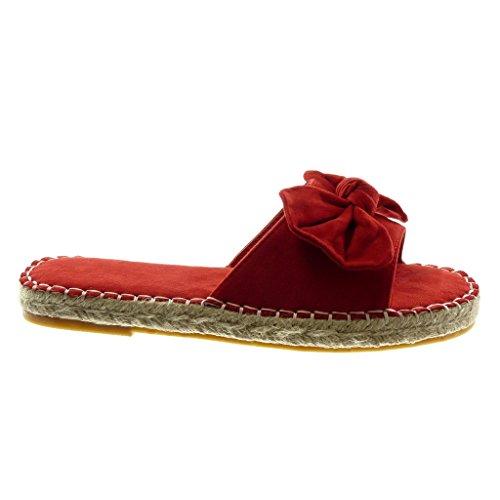Seil cm Espadrilles Knoten Sandalen Blockabsatz Angkorly Fertig Slip Damen Schuhe Rot On 2 Steppnähte qxnnpR7