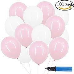 Idea Regalo - Okaytec 100 pz Palloncini con Pompa Manuale Palloncini Colorati per Feste Compleanno, Matrimonio, Palloncino Decorazioni Colorati per Occasioni Speciali - 30 cm Palloncini in Lattice (Rosa & Bianco)