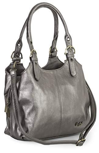 Big Handbag Shop Mehrfachtaschen Mittlere Größe Umhängetasche/Schultertasche für Frauen - Mit langem Schulterriemen - AMELIA (Mabel - Metallisch Hartzinn) -