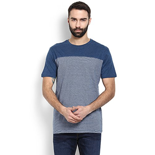 Celio Men Blue Solid Cotton Tee