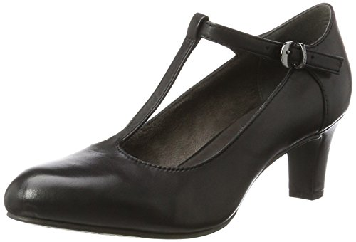 Tamaris Damen 24435 T-Spangen Pumps, Schwarz (Black), 37 EU