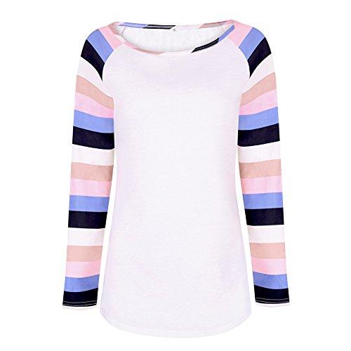 Automne Tee Shirt Femme Manche Longue Casual Rayures Haut Top Tunique Blouse T Shirt 2