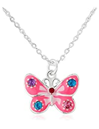 Childrens pink butterfly necklace, cute pink butterfly includes gift bag