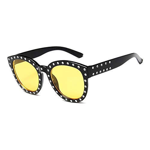 ZHOUYF Sonnenbrille Fahrerbrille Luxus Italienische Marke Sonnenbrille Frauen Kristall Platz Sonnenbrille Spiegel Retro Volle Stern Sonnenbrille Weiblich Schwarz Grau Shades, E