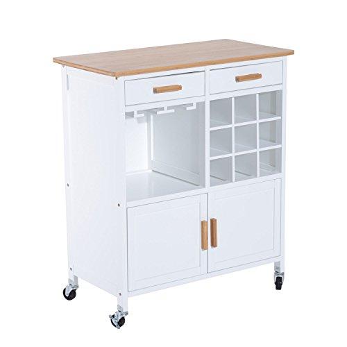 Homcom Küchenwagen Küchentrolley Beistellwagen Servierwagen Küchenregal mit Weinablage