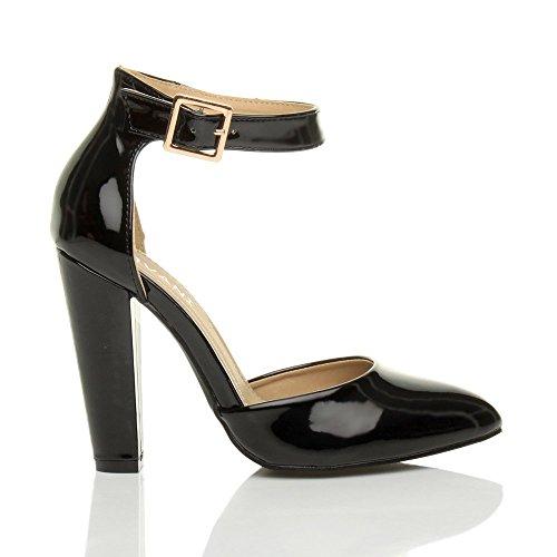 Damen Hochblockabsatz Mode Schnalle Spitz Pumps Knöchelriemen Schuhe Größe Schwarz Lack
