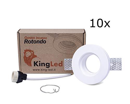 King Led - 10pz Portafaretto Tondo in Gesso CERAMICO da Incasso per GU10 e MR16 in cartongesso cod. 0627
