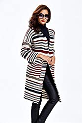 Women's Oversized Loose Knitted Cardigan Coat Striped Shawl Sweater