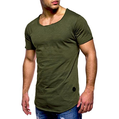 Herren Shirt, Casual Basic Einfarbige Rundhalsausschnitt Slim Fit Verschiedene Tee Kurzarm T-Shirt Sportswear Sweatshirt Tanktop (M, Grün)