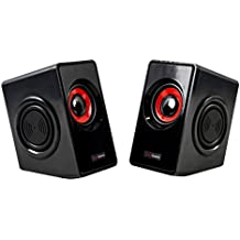 Mars Gaming MS1 - Altavoces Gaming para PC (10 W RMS, 6 drivers, 4 pasivos y 2 activos, subwoofer para graves, alimentación USB, jack 3.5 mm), color negro y rojo
