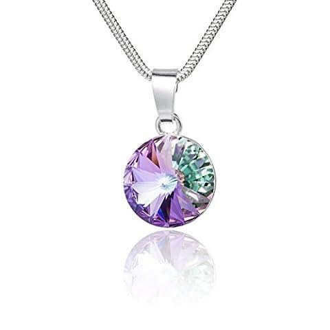 LillyMarie Damen Silberkette Sterling-Silber 925 original Swarovski Elements rund mehrfarbig lila Schmuck Etui Geschenk Freundin