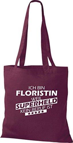 Shirtstown Stoffbeutel Ich bin Floristin, weil Superheld kein Beruf ist weinrot