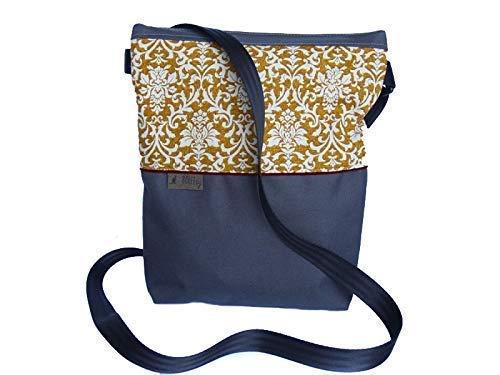 midi Tasche A5 *LEINEN Barock grau-gelb* Tablet Canvas Schultertasche Handtasche Umhängetasche...