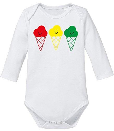 Angry Shirts Buntes Eis - Niedliche Bunte Eistüten mit Gesicht - Bio Baby Langarmbody - Bob Marley-baby-kleidung