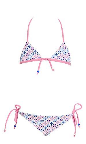 Mädchen Kostüme, zweiteilige , Triangel-Bikini , 4-10 Jahre , Blau, Rosa, Weiß, Made in Italy (6 Jahre 122 cm Mädchen) (Ganze Kostüm Referenz)
