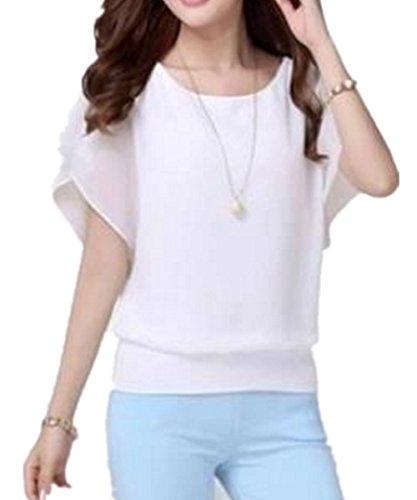 SHUNLIU Damen Sommer Casual Loose Fit Kurzarm Rundhals Fledermaus Batwing T-Shirt Shirt Chiffon Top Bluse Weiß