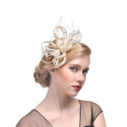 COMVIP Feder Damen Fascinator Haarspange Haarreif Cocktail Tea Party Cocktail Accessoires Fascinators Hut Headwear Beige - Hüte Mutter Der Braut