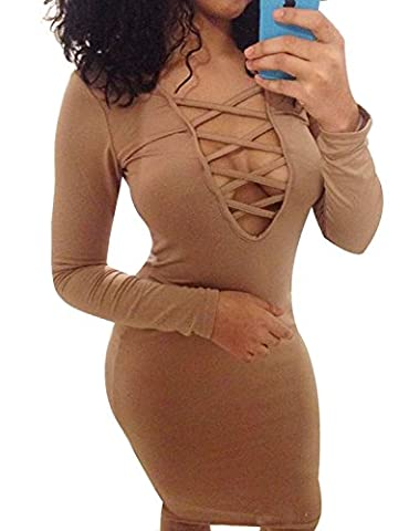 Alaix Robe sexy pour femme Manches longues Automne Chaud Extensible